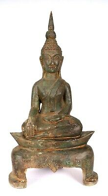 """Antique Laos Style Seated Bronze Enlightenment Buddha Statue - 30cm/12"""""""