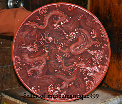 """14.8"""" Marked Ancient Chinese red lacquerware Dynasty 2 Dragons Tray Plate Screen"""