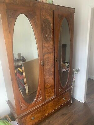 antique wardrobe with mirror And Bedside Cabinet