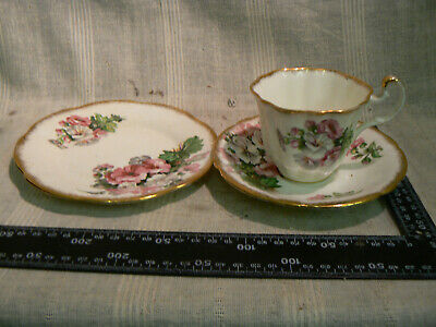Vintage Imperial China 22 Kt Gold  Tea Cup Saucer Side  Plate Trio Floral