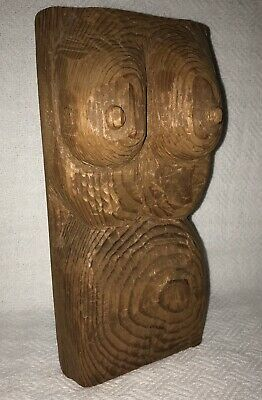Wood carved bust nude woman female body form folk art figure statue sculpture