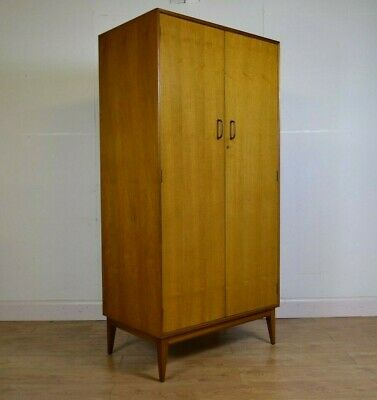Walnut Veneered Gentlemen's Double Wardrobe, Teak Interior, Mid Century, 1960s