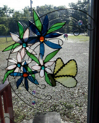 9018-11 Butterfly and Flowers STAINED GLASS CLOCK
