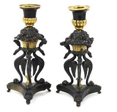 Antique 19th C. Pair French Gilt Bronze Phoenix Candlesticks Candleholders