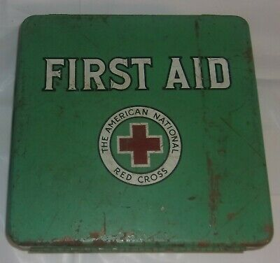 Vintage The American National Red Cross First Aid Metal Container Only Used