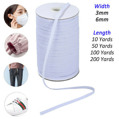 10/50/100/200 Yards Braided Elastic Band Cord Knit Band Cord Sewing 3mm 6mm