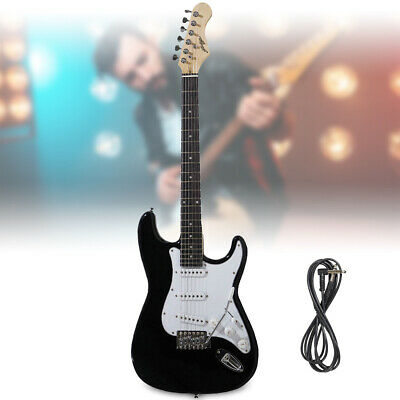 Black Full Size Electric Guitar ST Strat Style with Tremolo Johnny Brook JB413