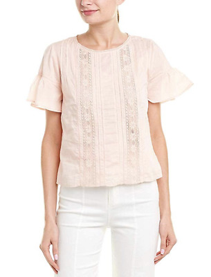 VELVET By Graham & Spencer Sheri Cotton Lace Inset Blouse Top Pink S $139 B19
