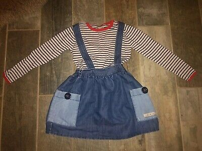 Next Girls Denim Dungaree Dress With Navy White Stripe Top Outfit Set. Age 3-4-5