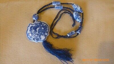 Vtg Chinese Necklace (Hand Painted Porcelain Beads)