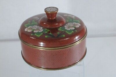"""Antique Chinese cloisonne lidded circular box red blue pink flowers 5"""""""