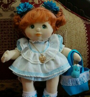 My Child Doll Original Blue Pinny Outfit Socks  -Hair Clips Bag Heart No Doll