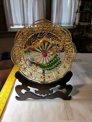Antique Chinese Dragon 8' Plate - Gold Wire Enamel Filigree Cloisonné Inlay Old!