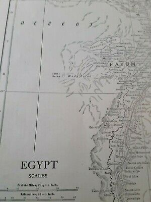 Vintage Color 1912 MAP Old  Atlas Morocco Algeria Tunis Nile Constantine Egypt