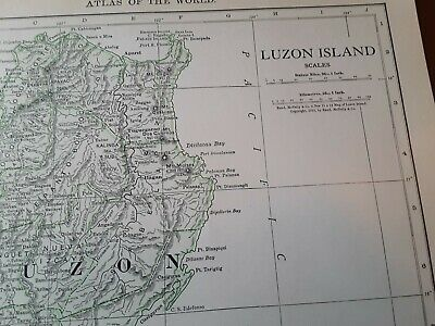 Vintage Color 1912 MAP Old  Luzon Manila Africa Congo Egypt Atlas Rand McNallys