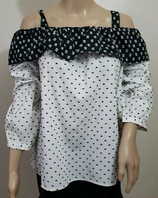 NWT Ann Taylor LOFT Cold Shoulder With Strap Geometric Black White Various Sizes