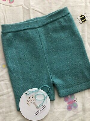 SLOOMB sustainable Babyish Baseshorties Wool 6-18 Mos Seapony Teal With String