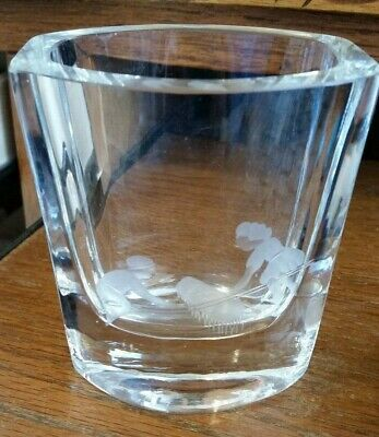 Orrefors Small Etched Crystal Glass Vase-Children on Teeter Totter