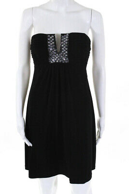Calvin Klein Womens Strapless A-Line Above Knee Jeweled Dress Black Size 4