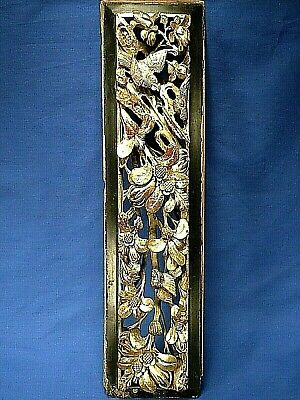 Antique Asian Openwork Hand Carved Wood Panel Birds & Floral Design Gold Gilded