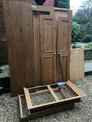 Solid Antique Style Waxed Pine 2 Door Single Wardrobe