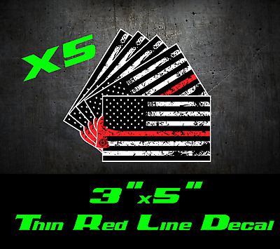 3-3x5 Thin Red Line Fire Fighter FireFighter Chief Flag Respect Decal Sticker