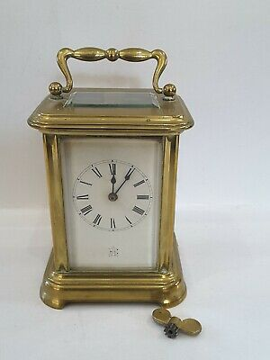 Antique Brass Carriage Clock Non Working Beveled Glass