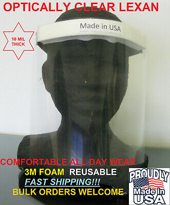 Face Shield Medical made in USA COMFORTABLE Elastic Reusable Full Face mask