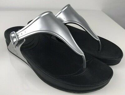 Fitflop super jelly women silver sandal slippers UK 7 EU 41 summer holiday