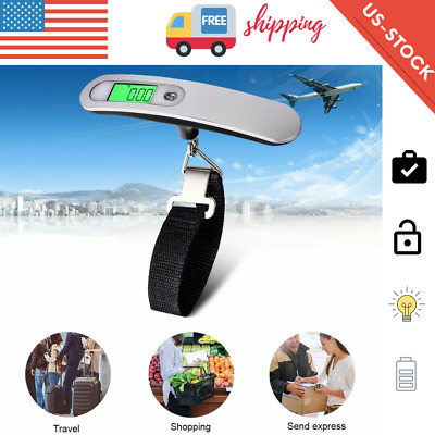 Portable Luggage Scale Travel LCD Digital Hanging Electronic Weight 110lb - 50kg