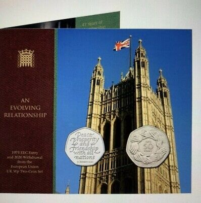 Brexit 2020 2 Coin Set. EEC Entry 1973 and 2020 Withdrawal EU. Royal Mint error!