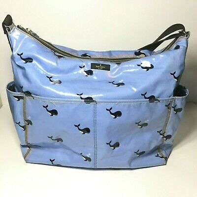 Kate Spade NY Daycation Strap Diaper Tote Bag Whale Print Blue Zipper Coated