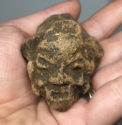 Pre-Columbian Terracotta Ghoulish Grotesque Pottery Head Fragment Ancient