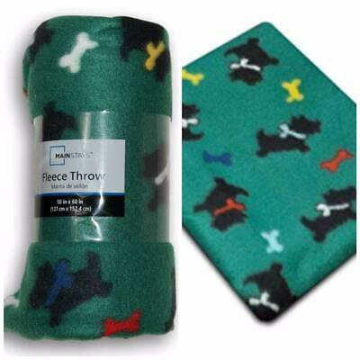 Super Cute Green Throw with Scottie Dogs (Scottish Terrier) NEW with Tags