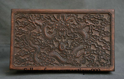 """12"""" Ancient Chinese Huanghuali Wood Dynasty Carved Dragon jewelry Box cabinet"""