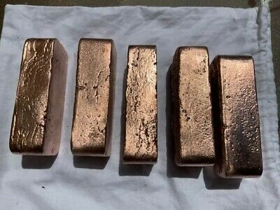 Copper / Bar . Hand Poured approx 1kg. $150 for 5 or $50eachsuper bright copper