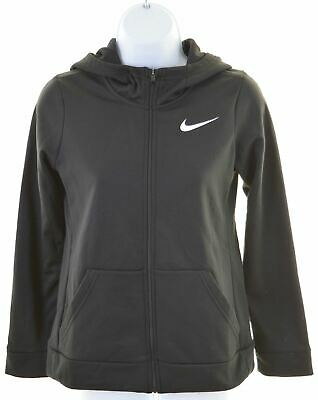 NIKE Girls Hoodie Sweater 12-13 Years Large Black Polyester  LS09