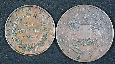 East India Company Quarter And Half Anna 1835 And 1834 Scarcer & Better Grades