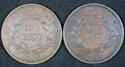 1845 STRAITS SETTLEMENTS ONE CENT EAST INDIA COMPANY x 2 NICE GRADE SINGAPORE