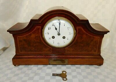 Edwardian Inlaid Mahogany Mantle Clock Japy Freres France Movement