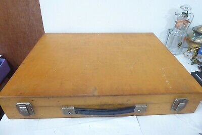 Vintage Wooden Artist Box Carry Case Paint Brushes