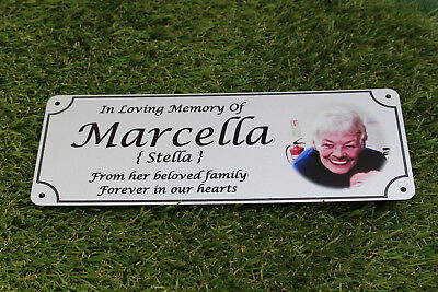 Photo memorial bench plaque for Mum, brushed silver finish, metal, aluminium