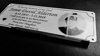 Photo memorial bench plaque for Dad, brushed silver finish, metal, aluminium