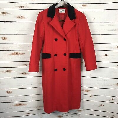 Vintage Rothschild Red Wool Coat Black Velvet Trim Peacoat Girls Size 12 USA