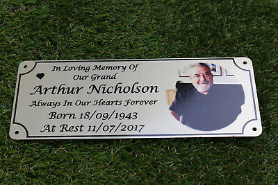 Photo memorial bench plaque for Taid, brushed silver finish, metal, aluminium