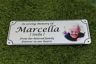 Photo memorial bench plaque for Nan, brushed silver finish, metal, aluminium