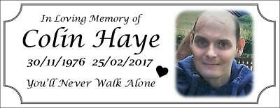 Photo memorial bench plaque for Uncle, brushed silver finish, metal, aluminium