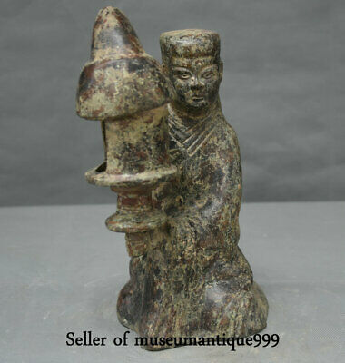 """10"""" Old Chinese Bronze Ware Dynasty Kneel People oil lamp palace lantern"""