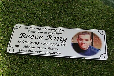 Photo memorial bench plaque for Brother, brushed silver finish, aluminium, new