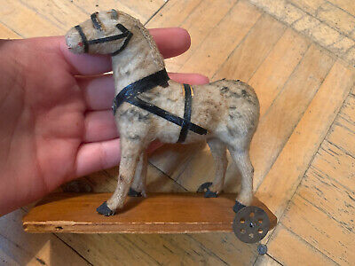 19th Century Sm Sz Wooden Horse Pull Toy W Velvet Surface On Wheels Sweet Look